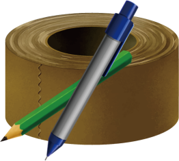 ガムテープとペン